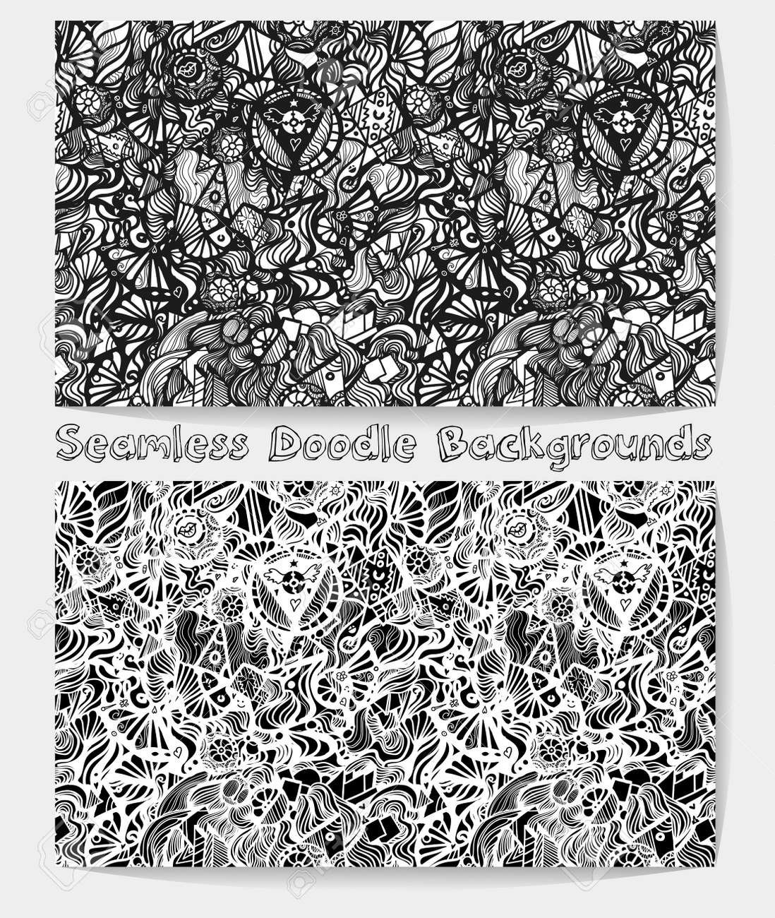 Hand Drawn Cartoon Black And White Psychedelic Doodle Seamless