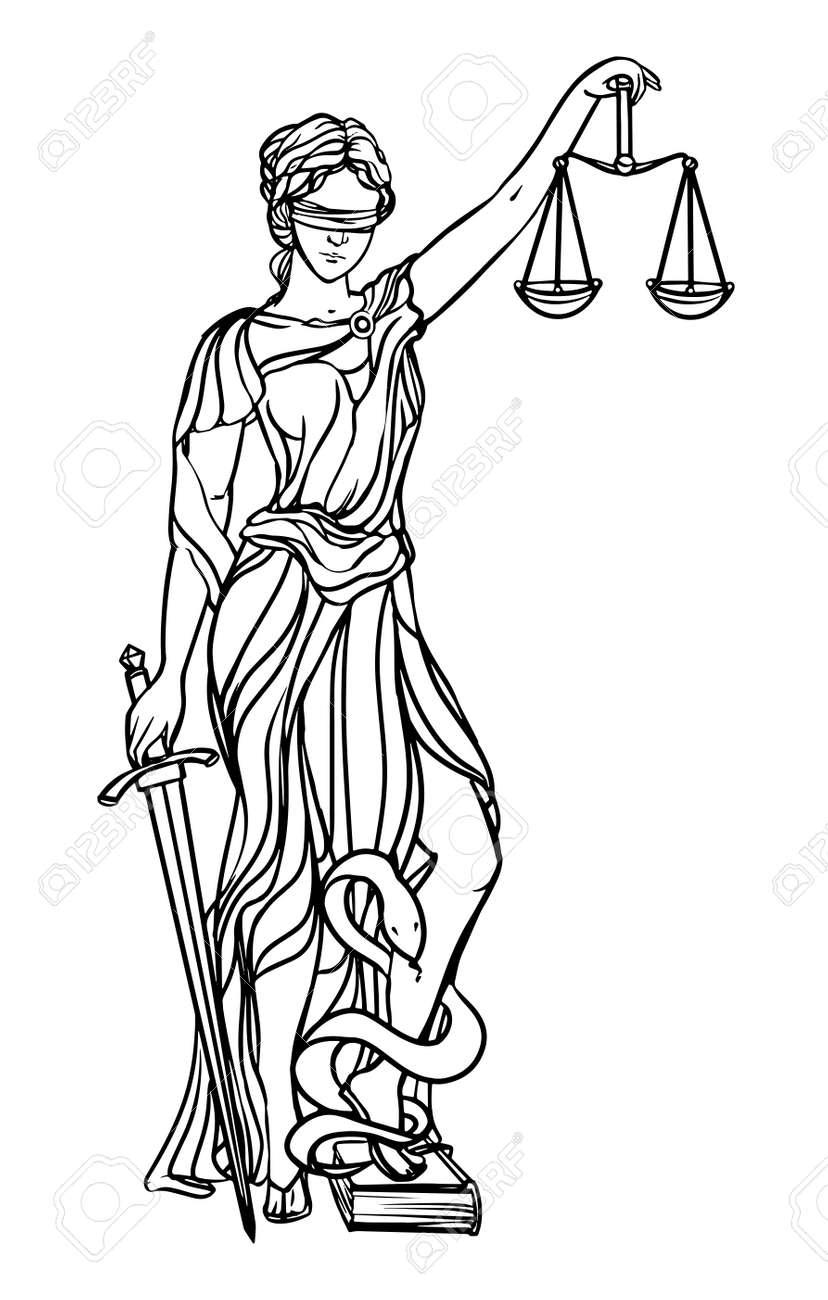 Themis goddess of justice. Femida vector illustration. Justice statue label, scales of justice symbol, lady goddess of justice. - 59497320