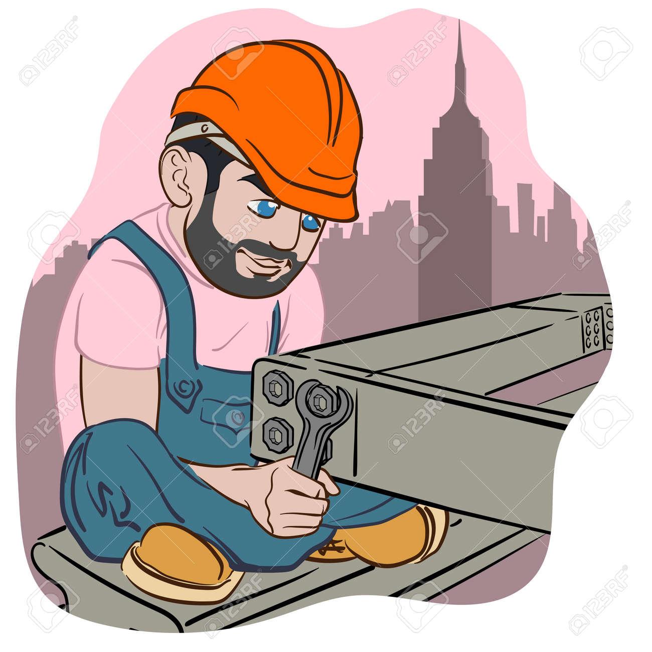 Lustige Cartoon Stil Bauarbeiter Mit Einem Schraubenschlussel
