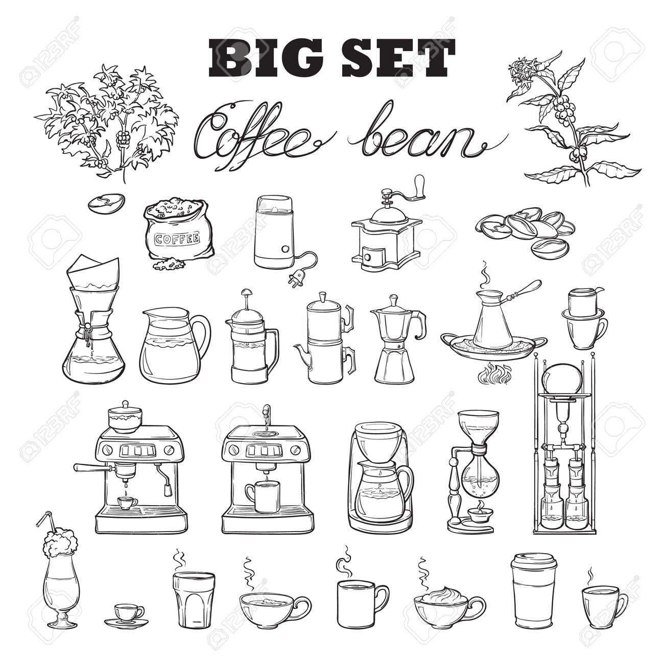 Barista tools set. Equipment for various ways of coffee brewing. Infographics icons. Doodle style pictures. Black sketch isolated on white background. EPS10 vector illustration. - 60141621