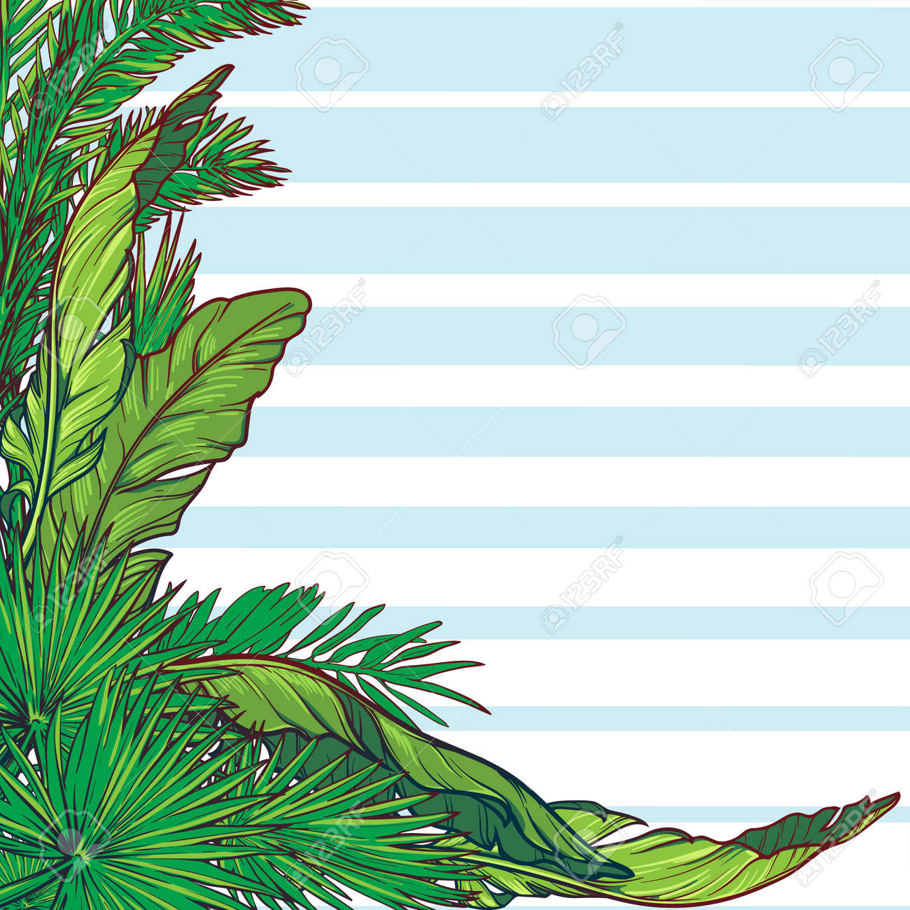 tropical floral frame banana and palm tree leaves blue stripes