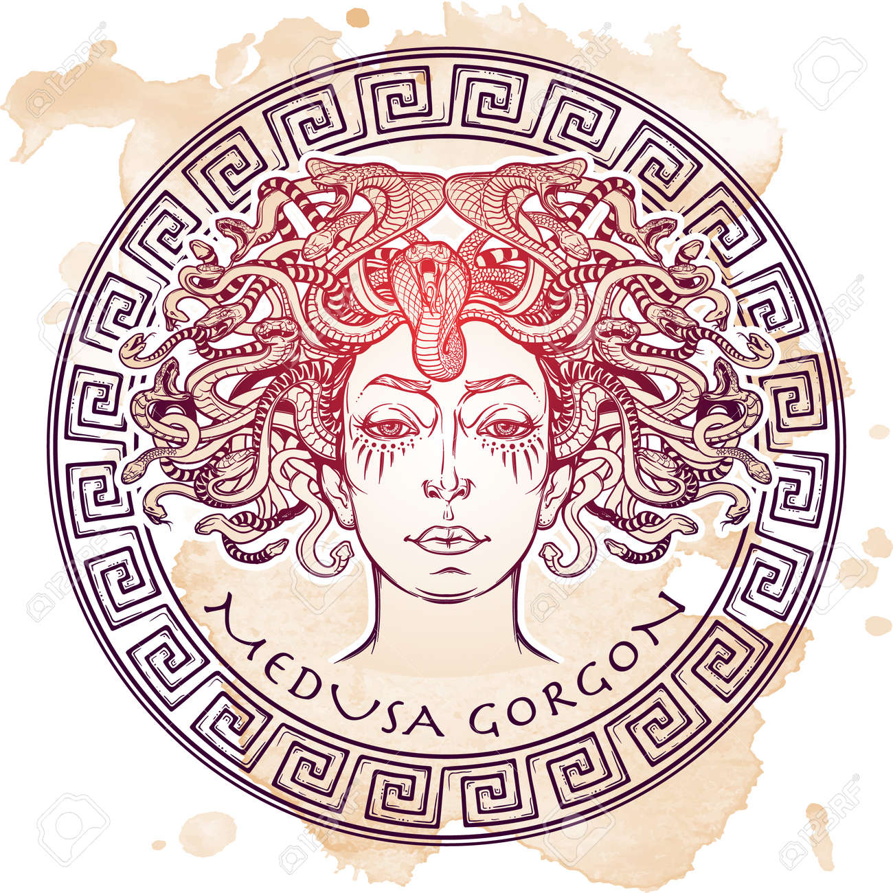 Medusa Gorgon. Ancient Greek mythological creature with face of a woman and snake hair. Legendary beast. Halloween concept. Hand drawn sketch on grunge background. Isolated vector illustration. - 60530923