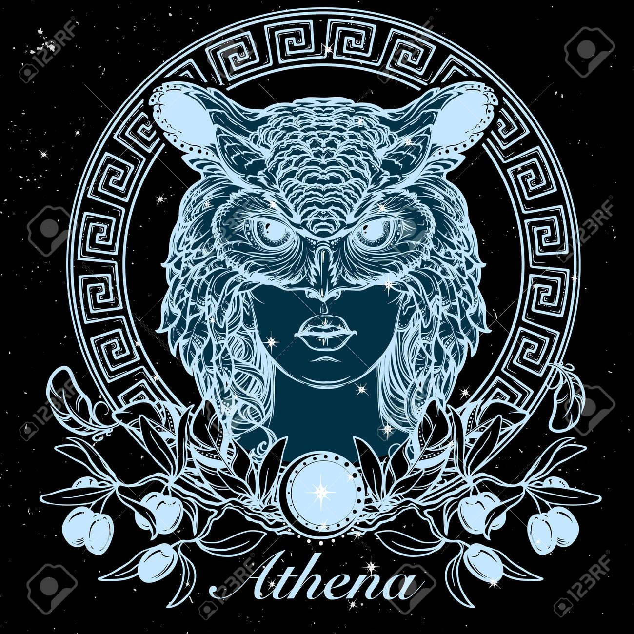 Atenea Diosa De Los Antiguos Mitos Griegos Mujer Hermosa En Una