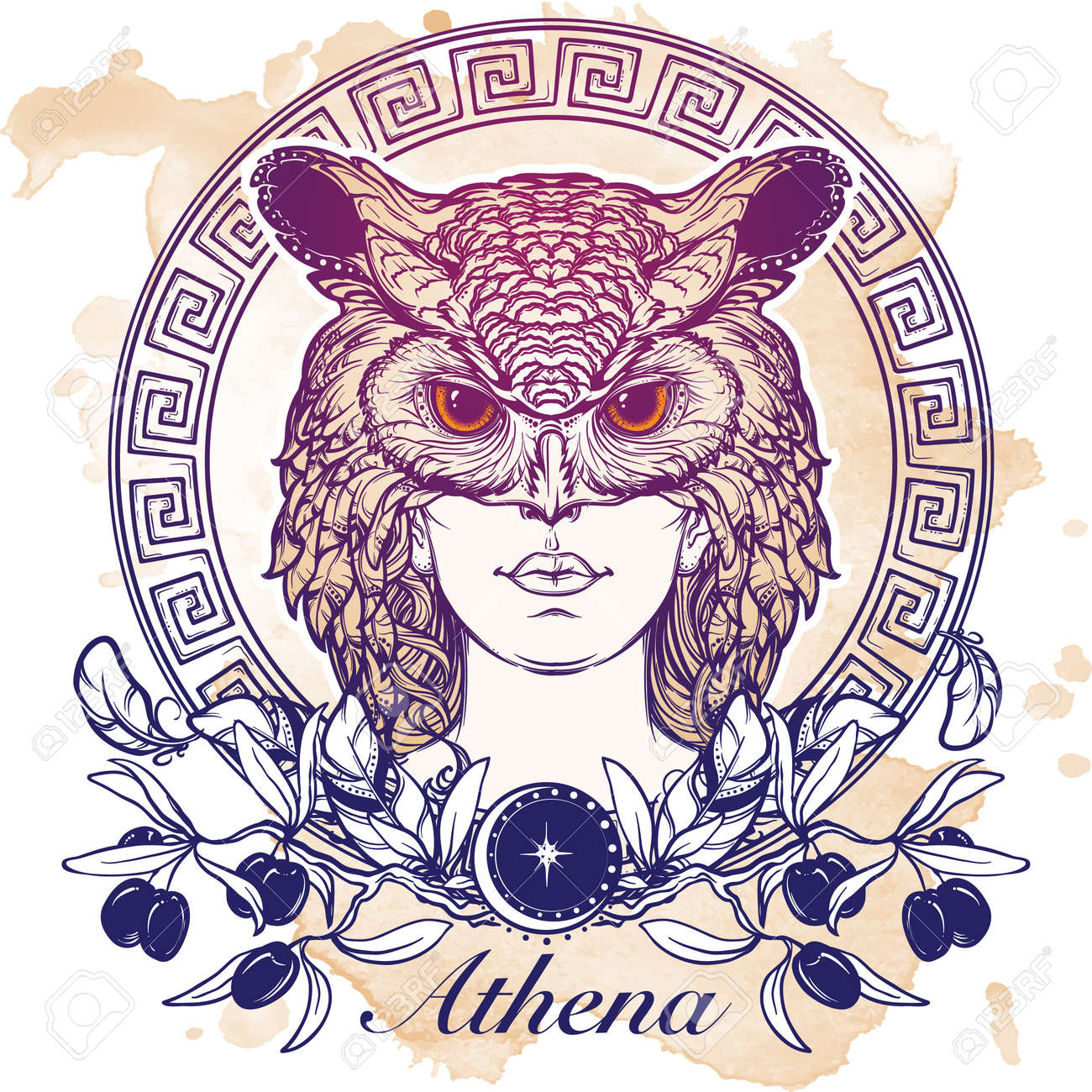 Athena Goddess Of Ancient Greek Myths Beautiful Woman In An