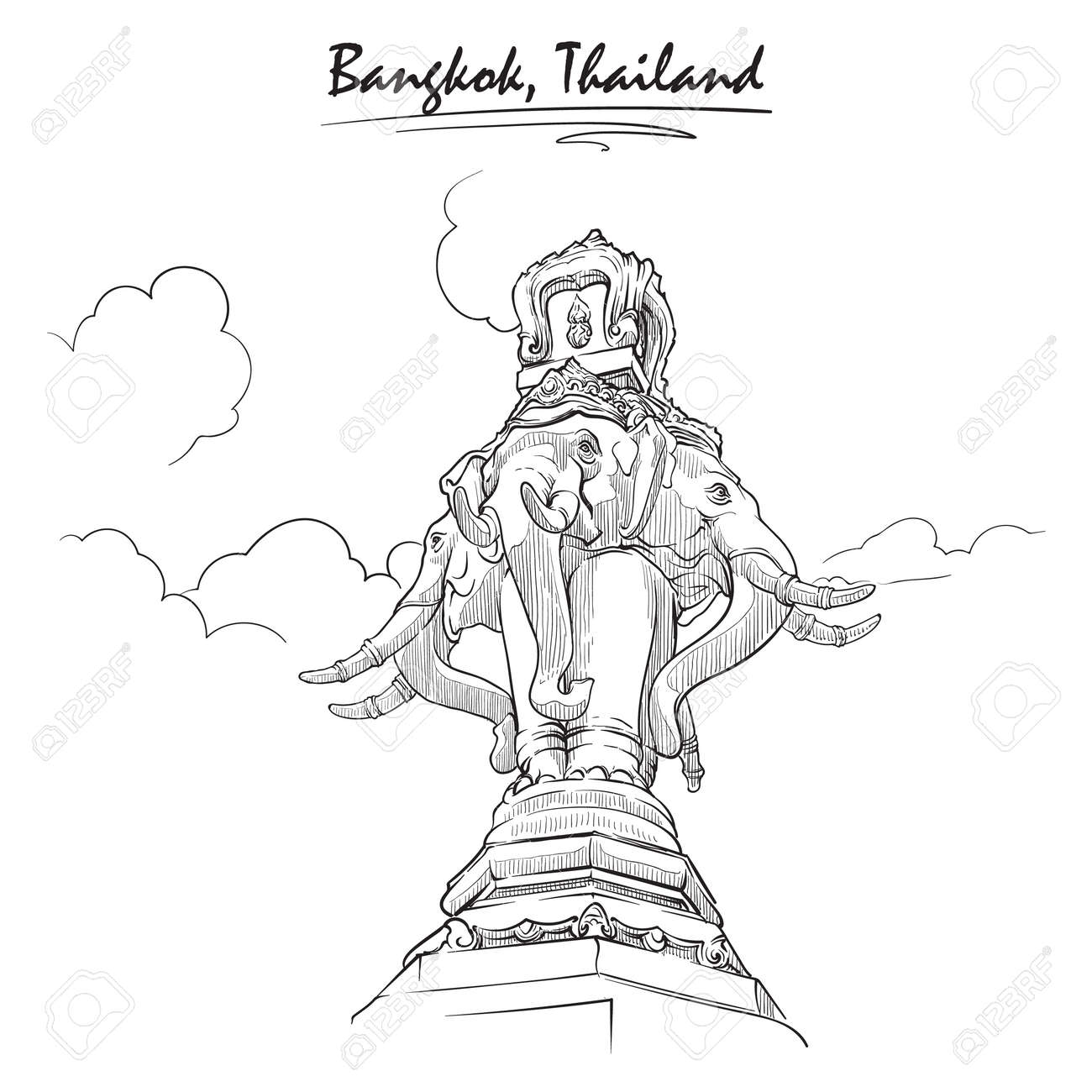 statue of elephant in bangkok sketch isolated on white background