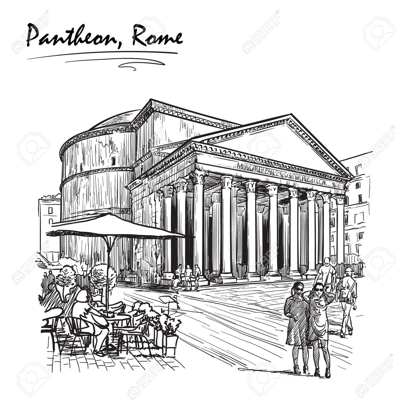 Das Stadtleben Szene In Rom Pantheon Und Gruppen Von Menschen Umher