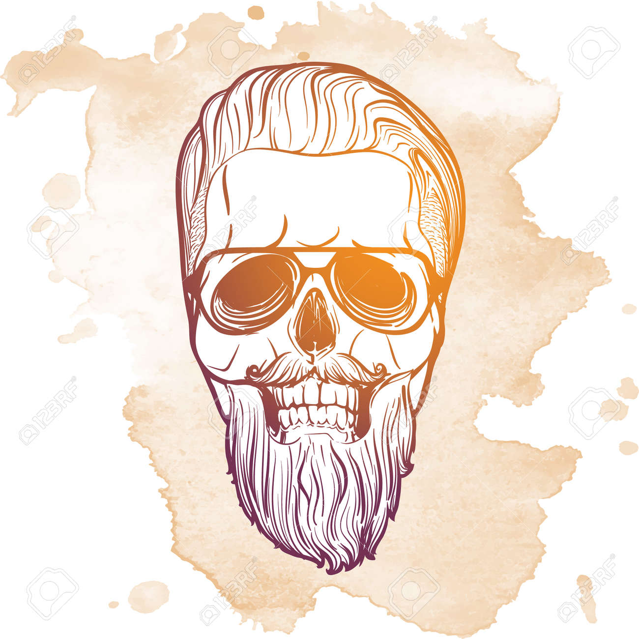 Hipster style human skull with a trendy undercut haircut wearing glasses  mustache and beard. Hand