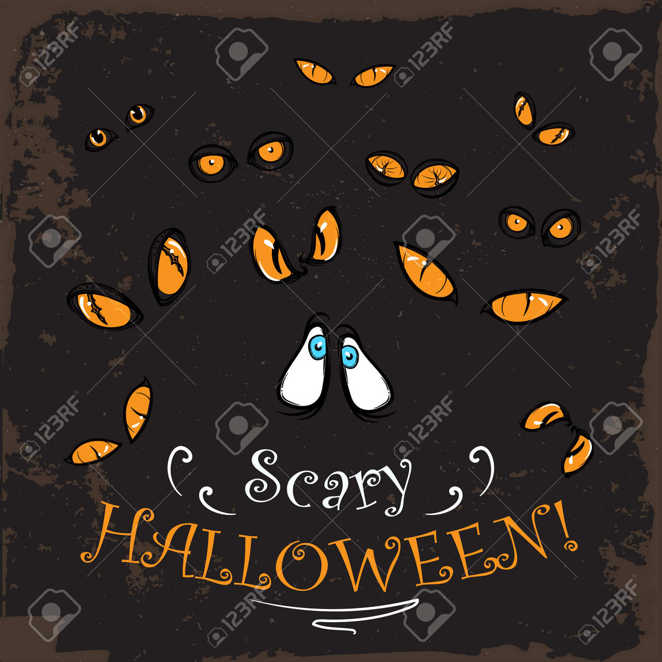 Scary Yellow Eyes Watching From The Dark. Spooky Halloween Greeting Card,  Print Or Party