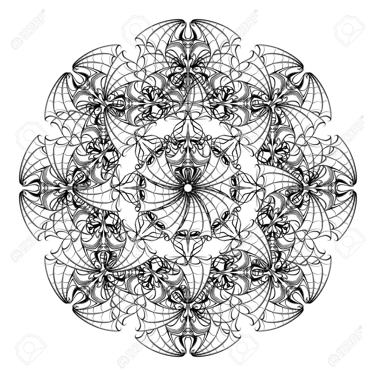 Komplizierte Stilisierte Kreisrundes Ornament Fledermause Fur