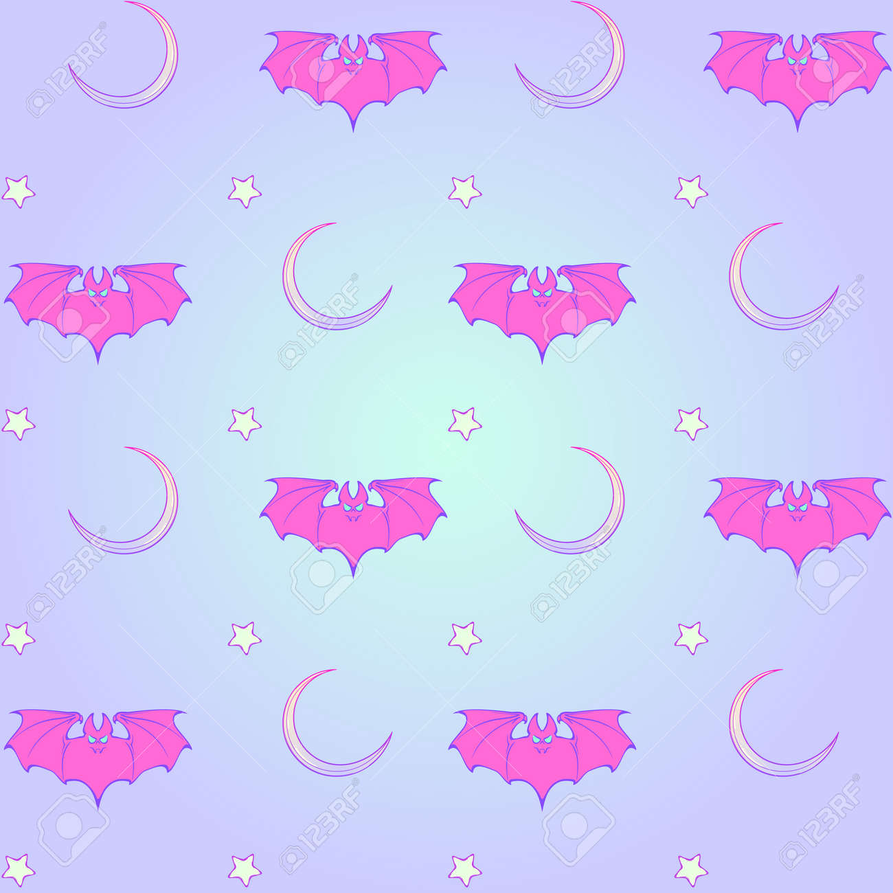 Kawaii Bats Stars And Moon Crescent Festive Seamless Pattern Pastel Goth Palette Cute