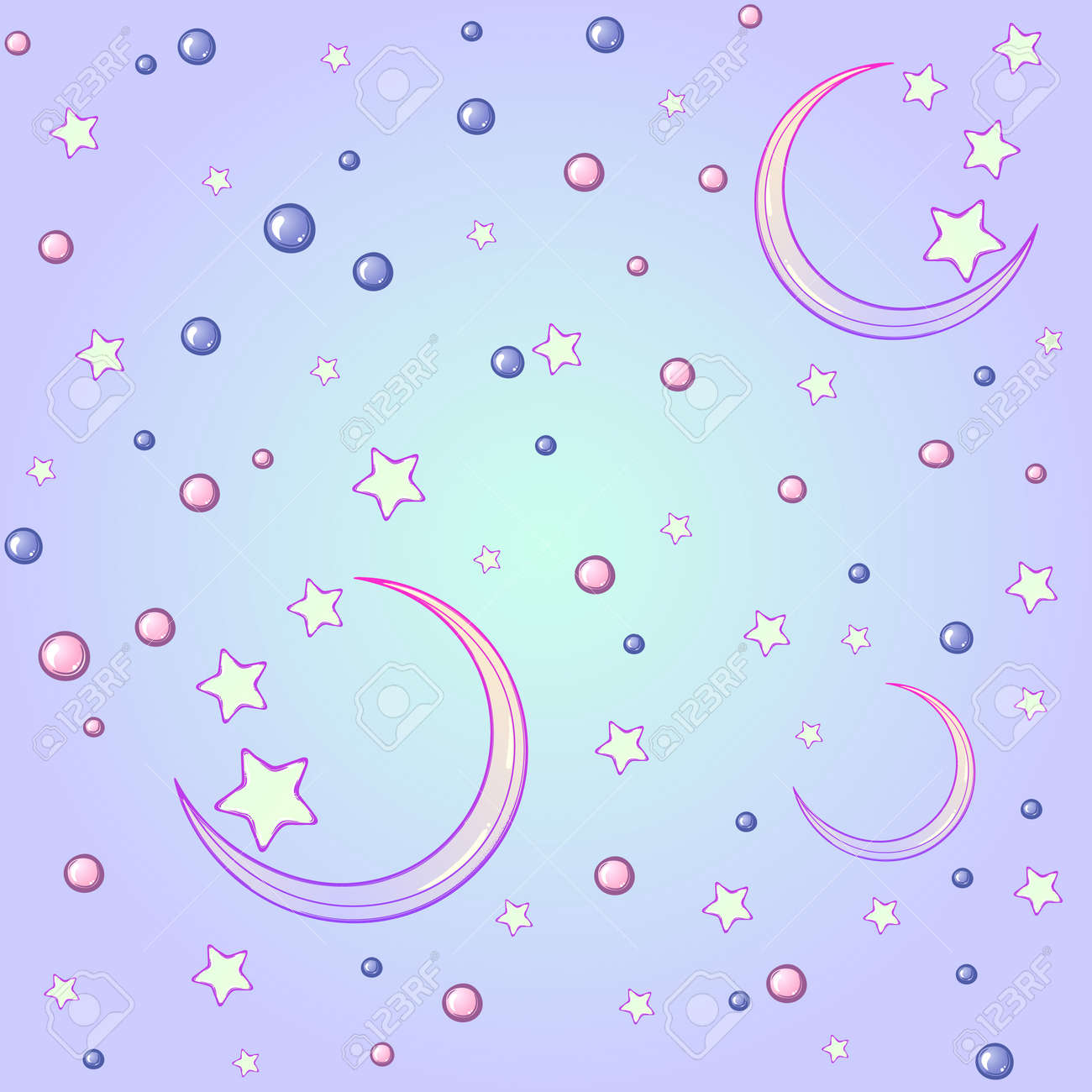 Kawaii Cartoon Style Night Sky With Stars And Moon Crescent Festive Seamless Pattern Pastel