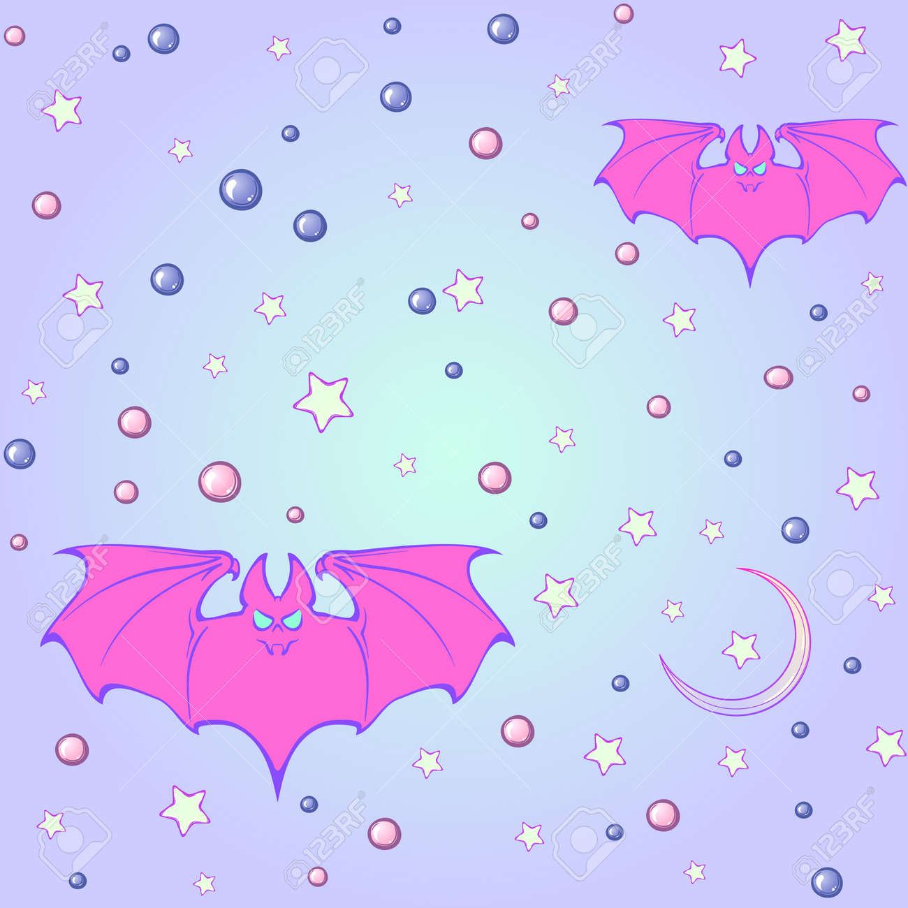 Kawaii Bats Stars Moon Crescent And Pearl Gems Festive Seamless Pattern Pastel Goth Palette