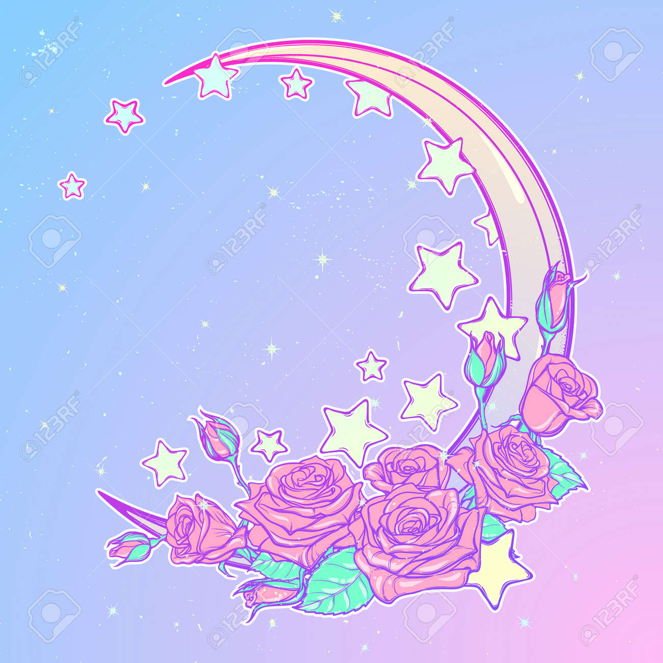 kawaii night sky composition with roses bouquet stars and moon
