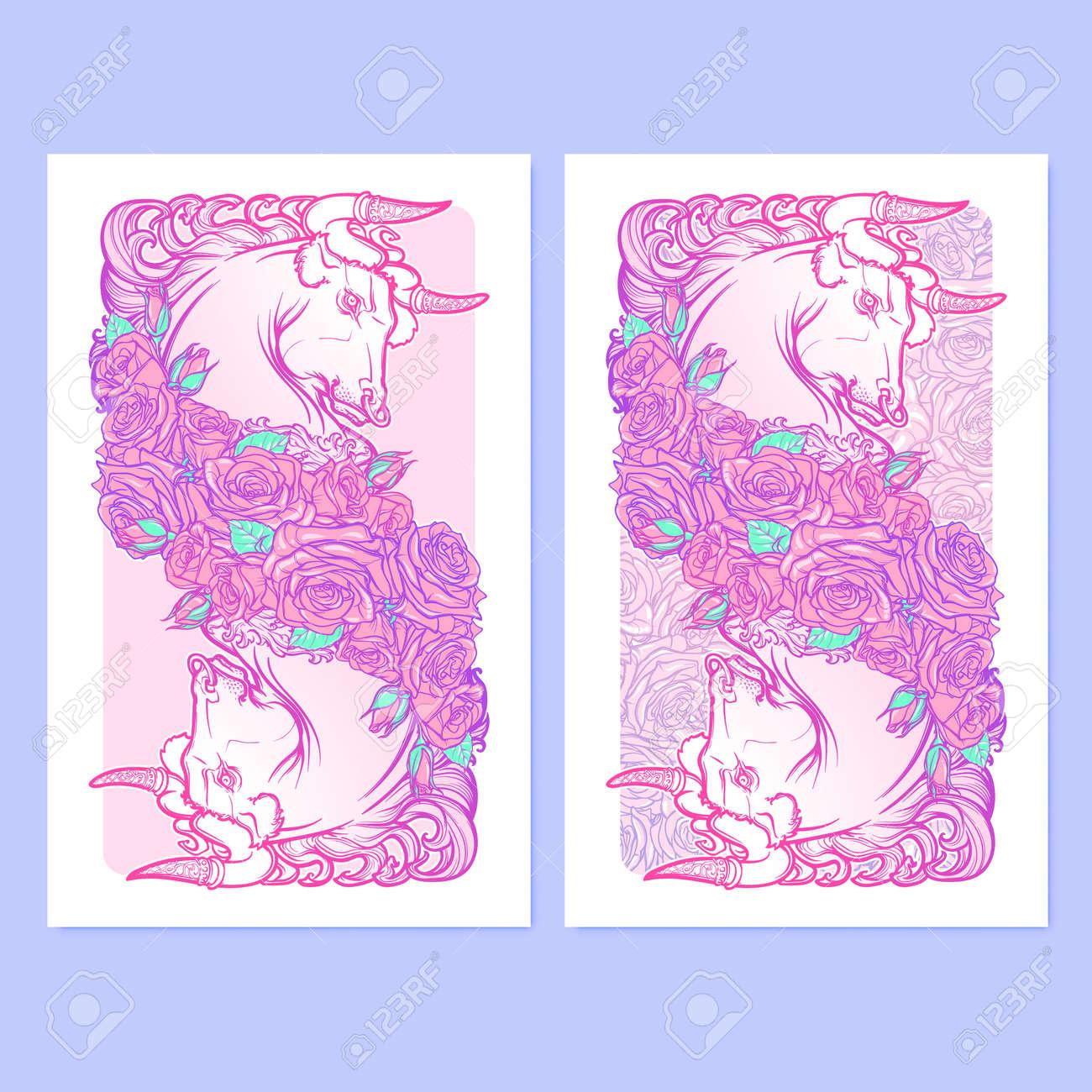 Signe Astrologique Du Taureau Avec Un Cadre Decoratif De Roses