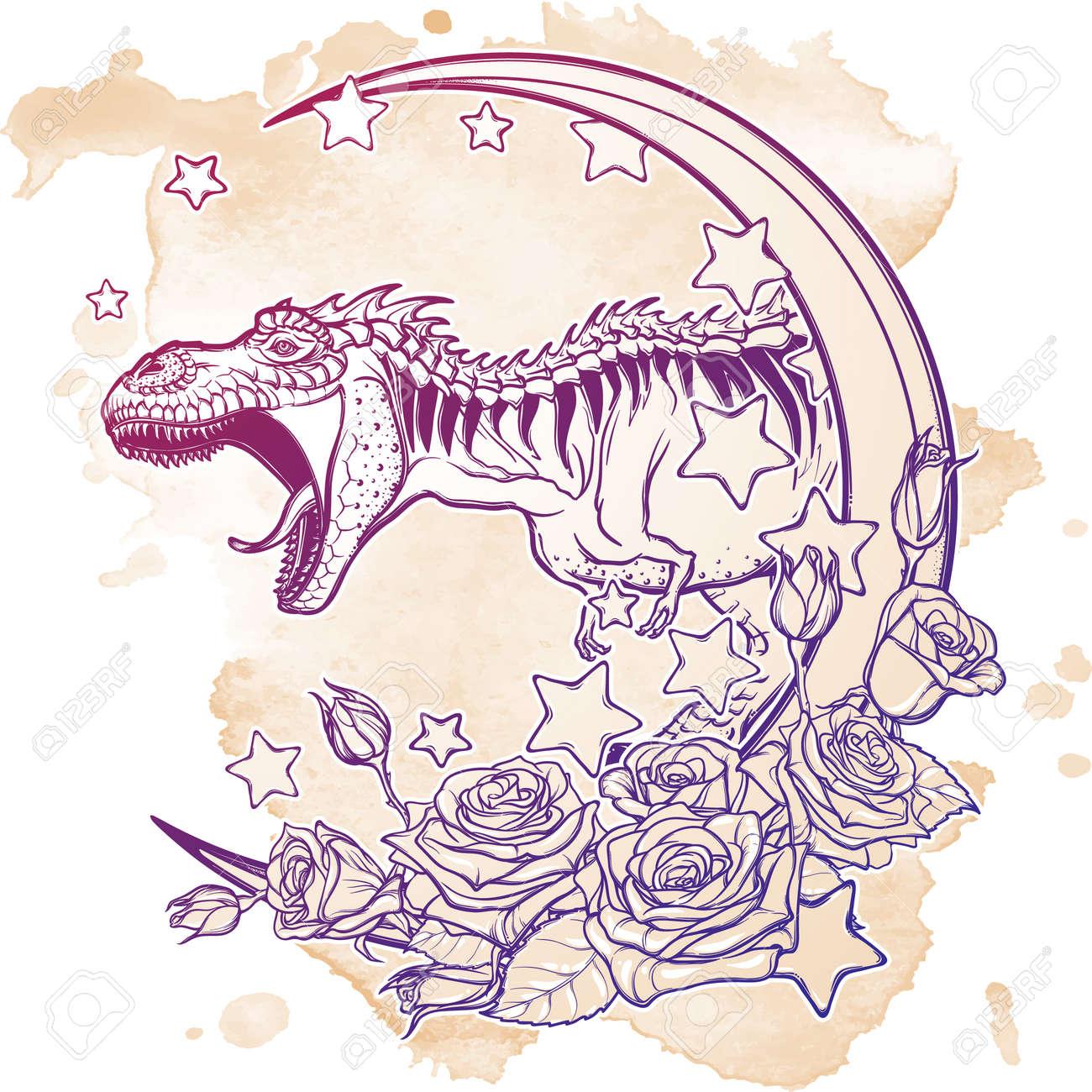 Croquis Detaille Du Dessin Du Tyrannosaure Rugissant Sur Le Cadre De