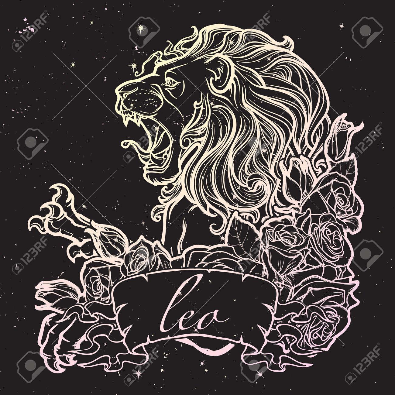 Sternzeichen Löwe Mit Einem Dekorativen Rahmen Von Rosen Astrologie ...