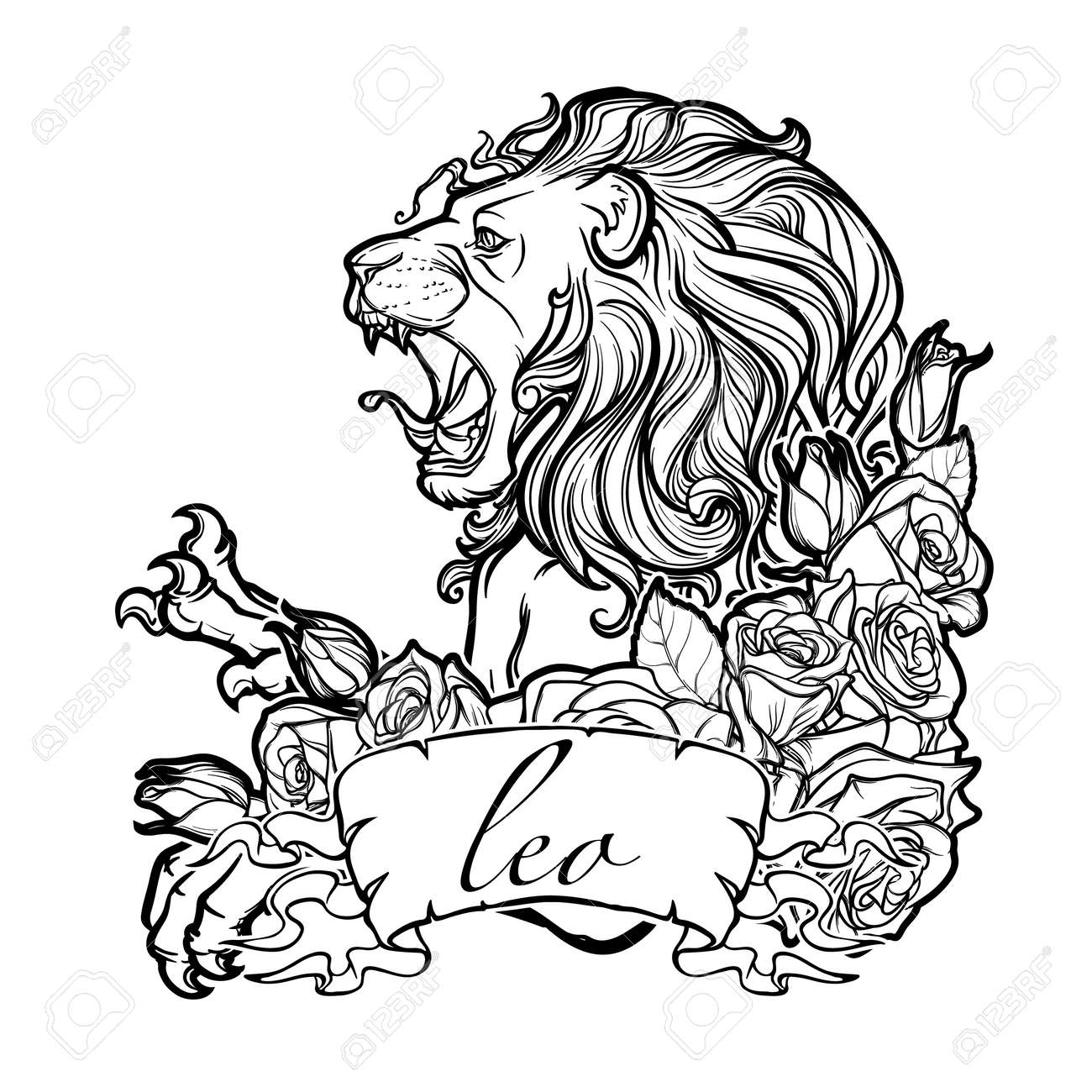 Zodiac Sign Of Leo With A Decorative Frame Of Roses. Astrology ...