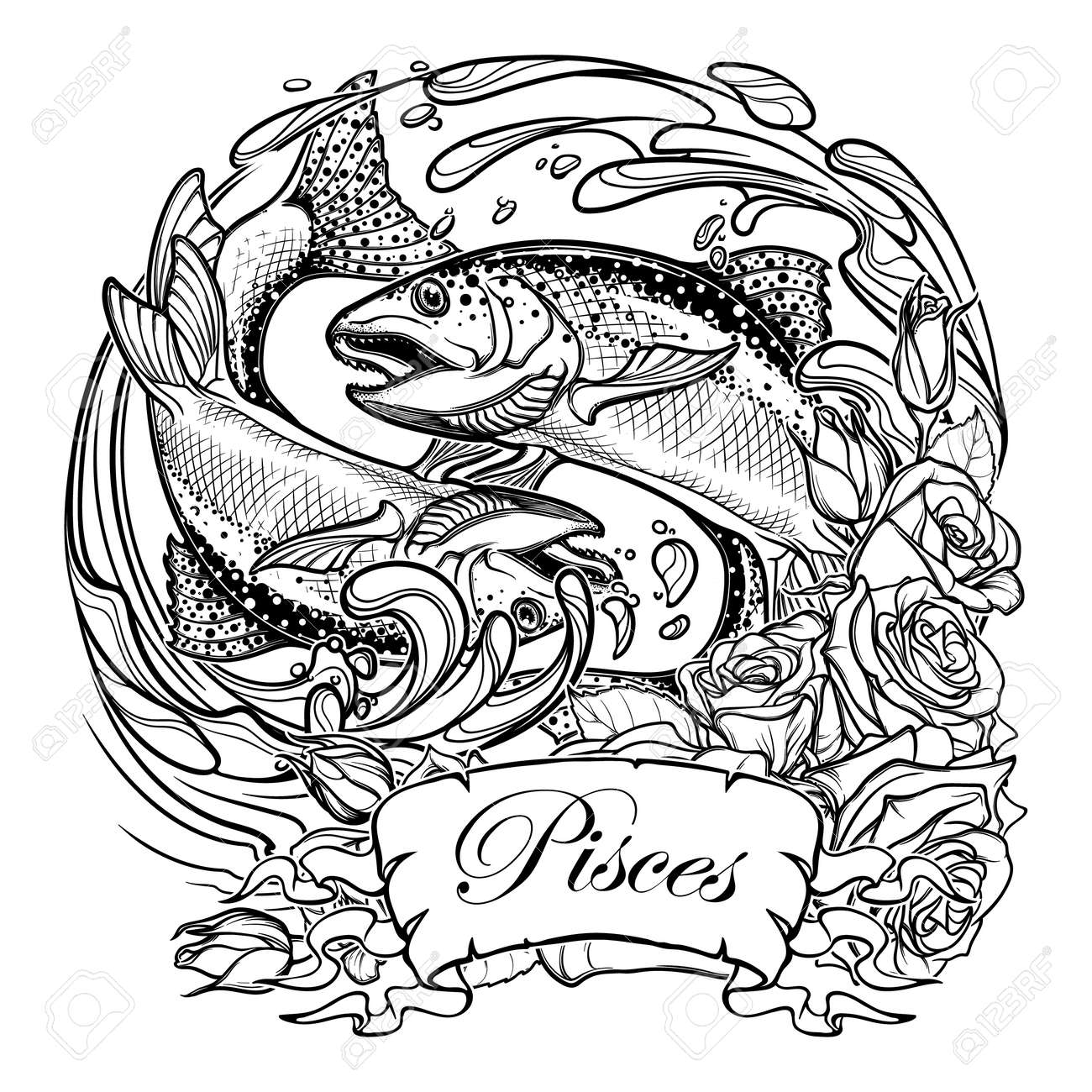 Muestra Del Zodiaco - Piscis. Dos Peces Saltando Desde El Agua ...