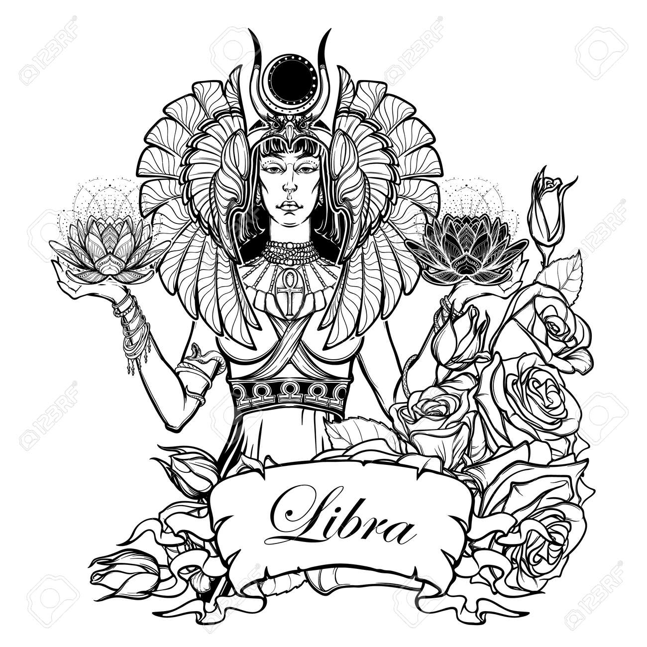 Zodiac sign libra egyptian goddess isis balancing in hands black egyptian goddess isis balancing in hands black and white lotus as a biocorpaavc