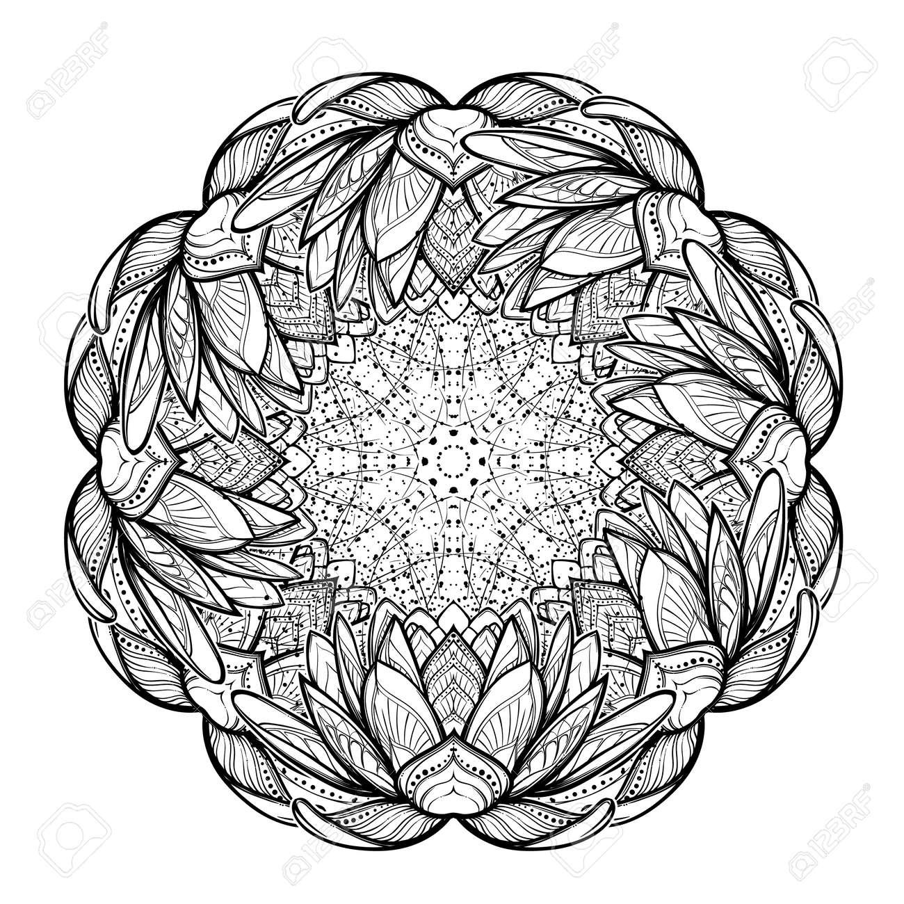 Lotus flower mandala intricate stylized linear drawing isolated lotus flower mandala intricate stylized linear drawing isolated on white background concept art for izmirmasajfo Gallery