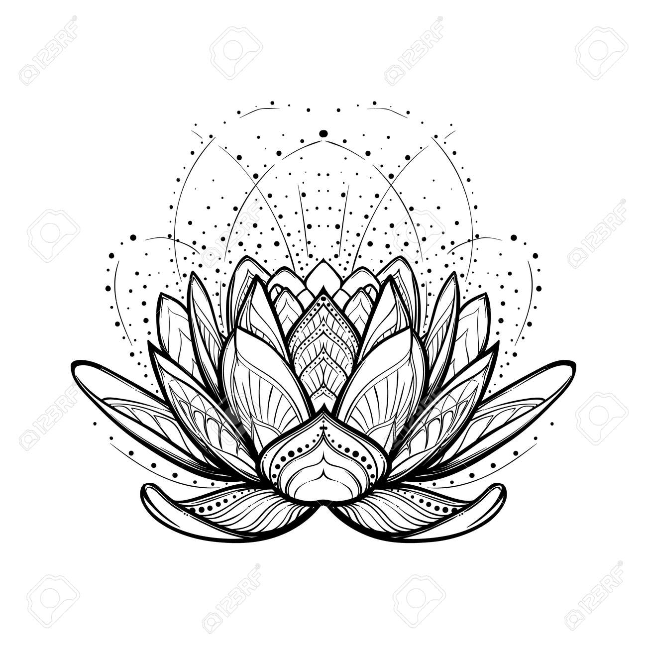 Lotus flower intricate stylized linear drawing isolated on white lotus flower intricate stylized linear drawing isolated on white background concept art for hindu dhlflorist Gallery