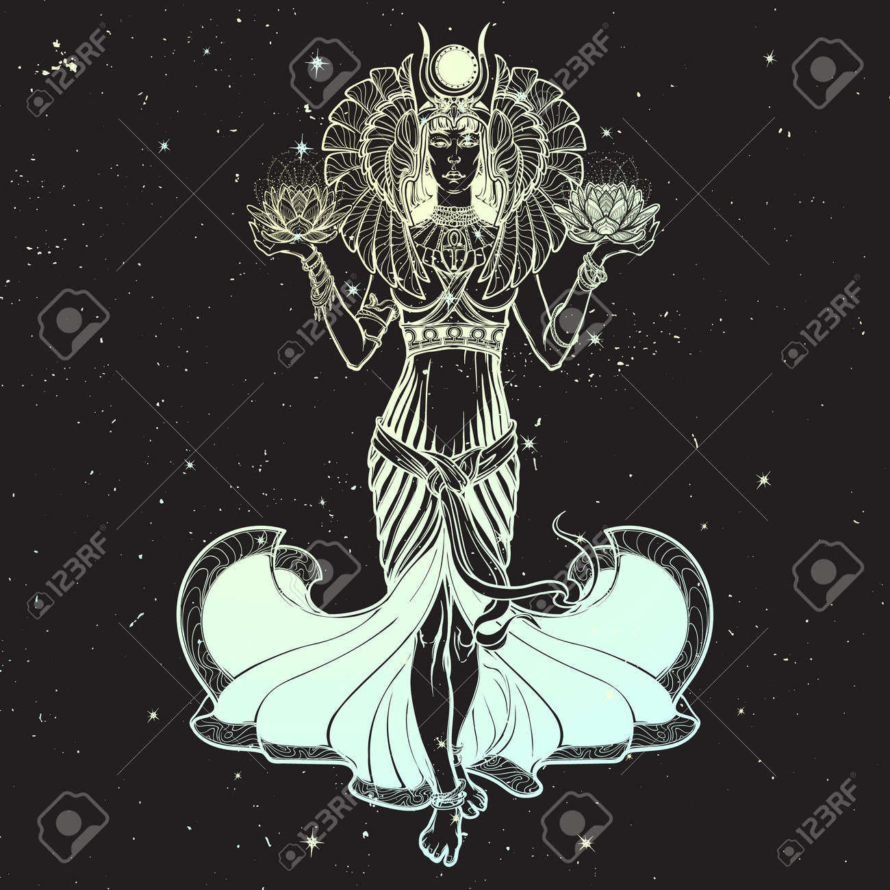 Egyptian Goddess Isis Balancing In Hands Black And White Lotus