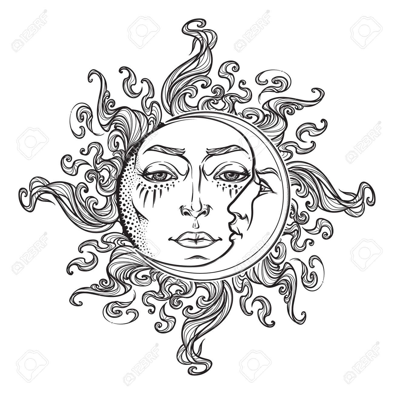 Style De Fantaisie Dessiné Par Le Soleil Et Le Croissant De Lune Avec Un Visage Humain élément Décoratif De Style Graphique Noir Et Blanc Pour