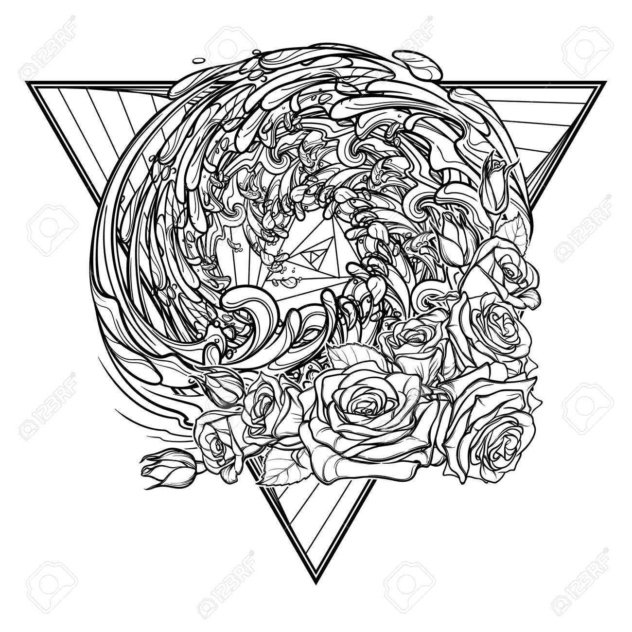 Alchemic Element Of Water Sign. Triángulo Hacia Abajo Con Guirnalda ...
