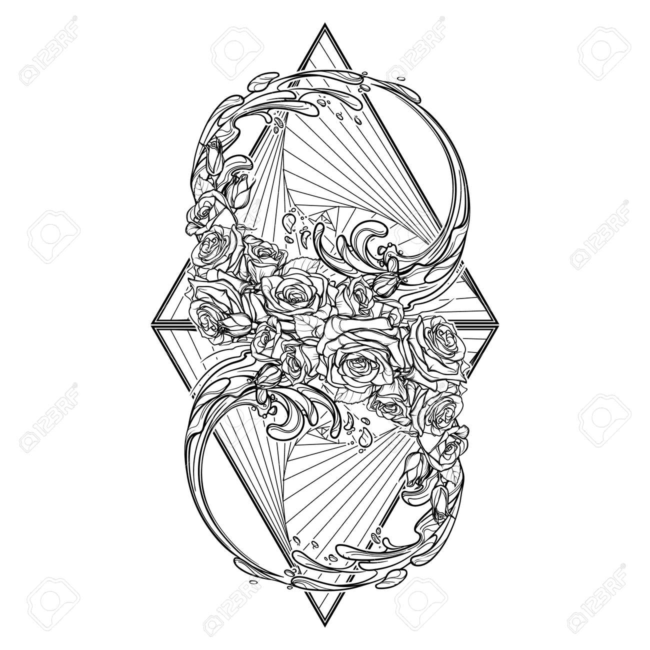 Alchemic element of water sign artistic decorative interpretation alchemic element of water sign artistic decorative interpretation of the mathematical symbol with rose garland biocorpaavc Image collections