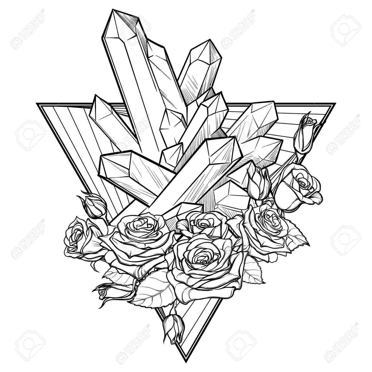 Signo Del Elemento Alquímico De La Tierra Abajo Señalando El Triángulo Con Guirnalda De Rosas Y Cristales De Punta Diseño Conceptual Para El