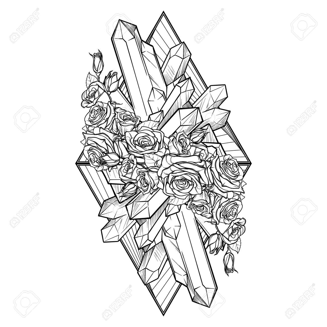 Elemento Alquímico De La Tierra Signo. Viñeta Vertical. Abajo ...