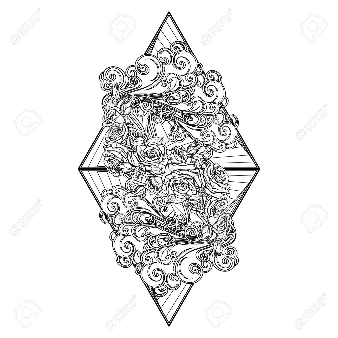 Coloriage Guirlande Fleurs.Element Air Vignette Decorative Avec Des Nuages Boucles Et Guirlande De Fleurs Roses Sur Des Triangles Dessin De Main Lineaire Noir Isole Sur