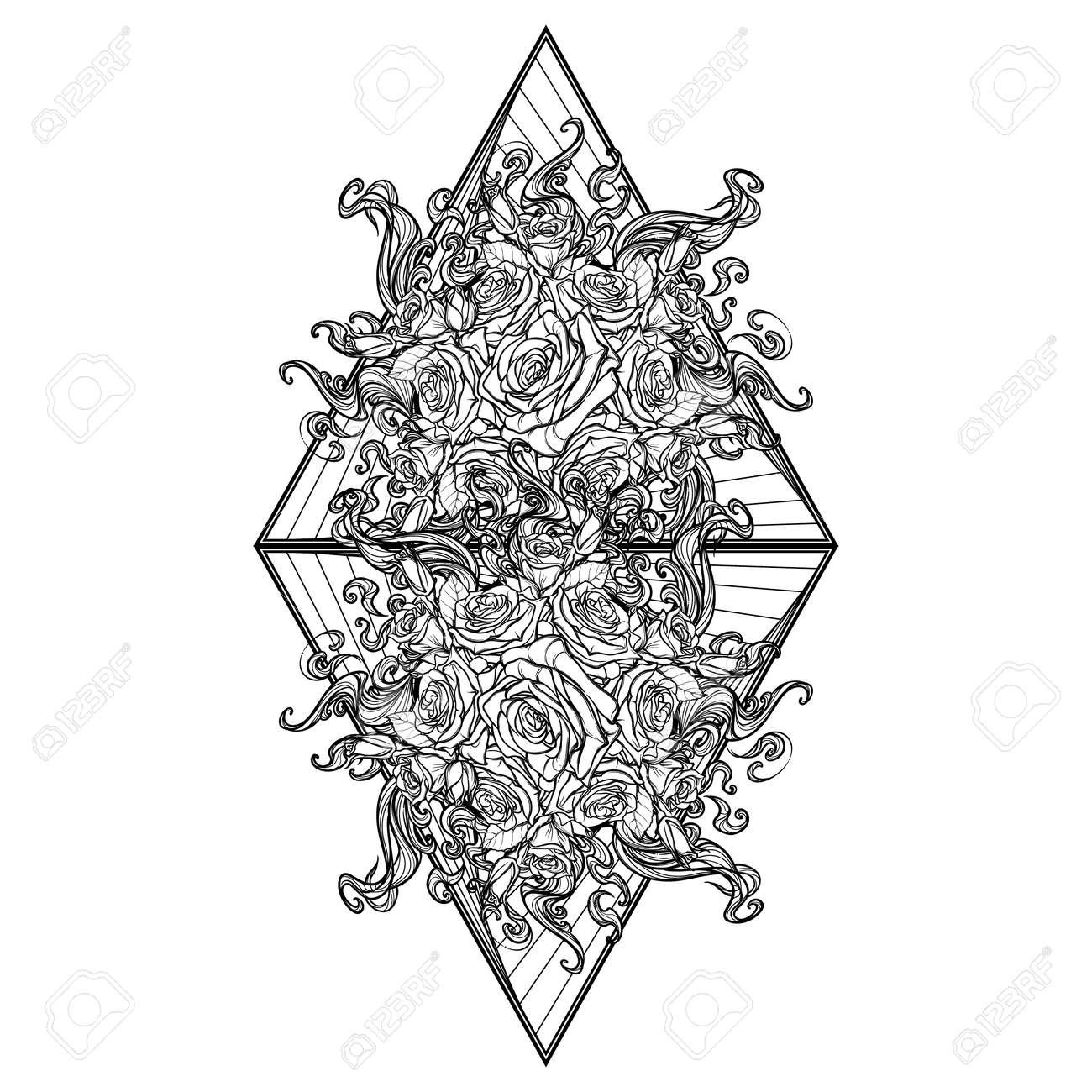 Elemento Alquímico Del Signo De Fuego. Triángulo Que Señala Hacia ...