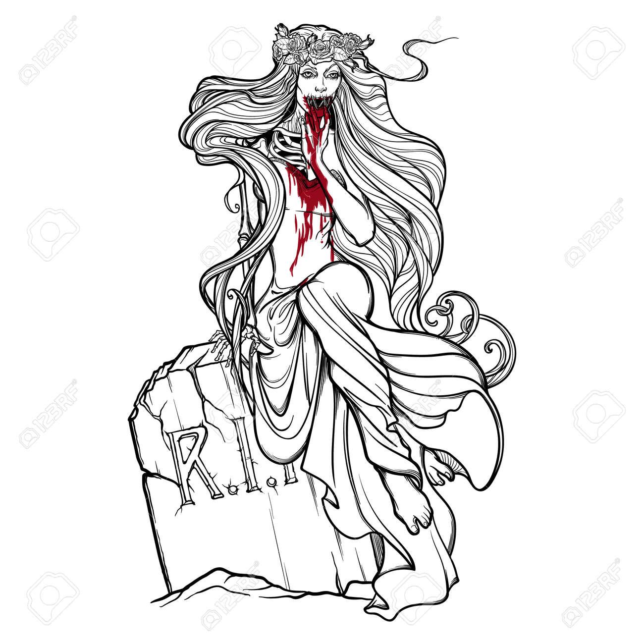 Mariée Morte Fille De Zombie Avec Une Bouche Cousue Des Mains Tachées De Sang Et Une Robe Assise Sur Une Pierre Tombale Dessin Linéaire Noir Et