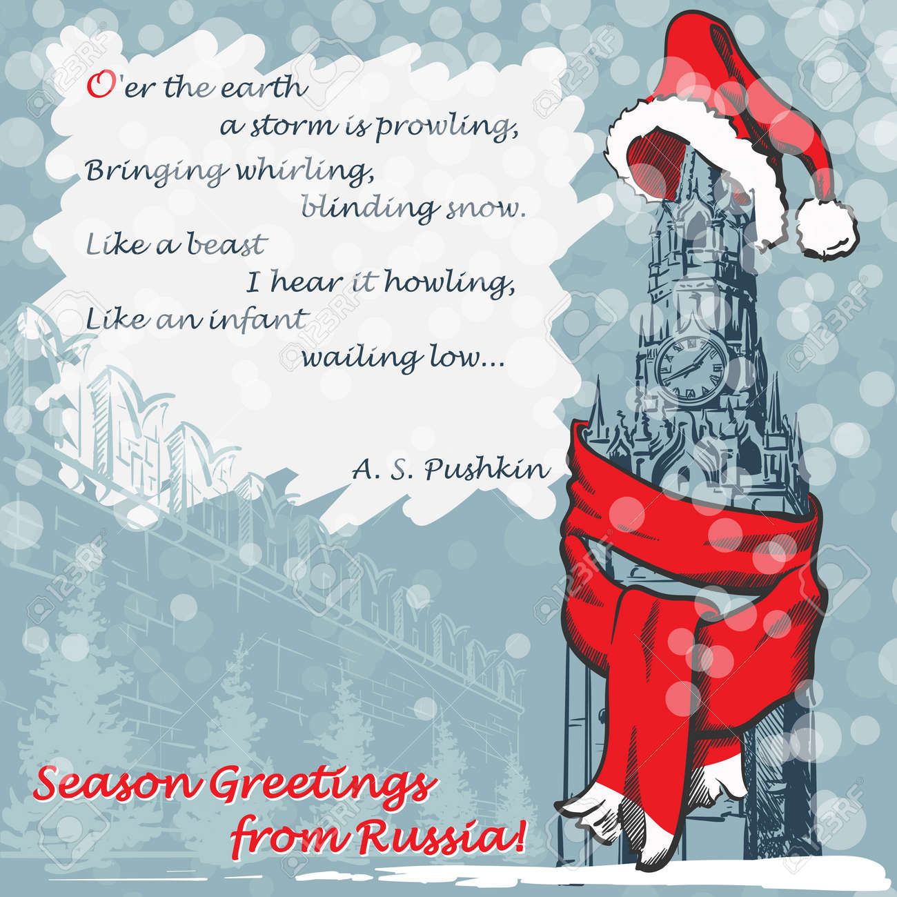 Design of the christmas greeting card with mowcow kremlin in design of the christmas greeting card with mowcow kremlin in a red scarf and hat and kristyandbryce Choice Image