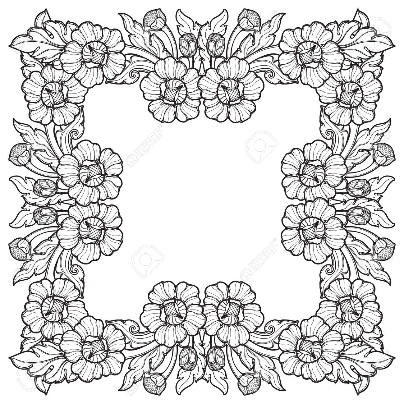 Lotus flowers arranged in intricate square frame popular decorative lotus flowers arranged in intricate square frame popular decorative motif in south eastern asia izmirmasajfo