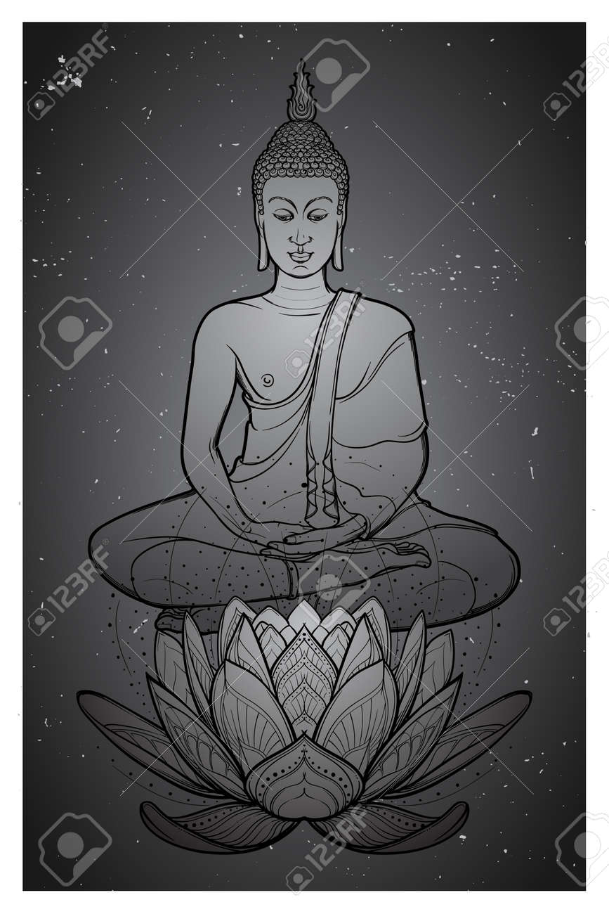 Buddha Sitting On A Lotus Flower And Meditating In The Single