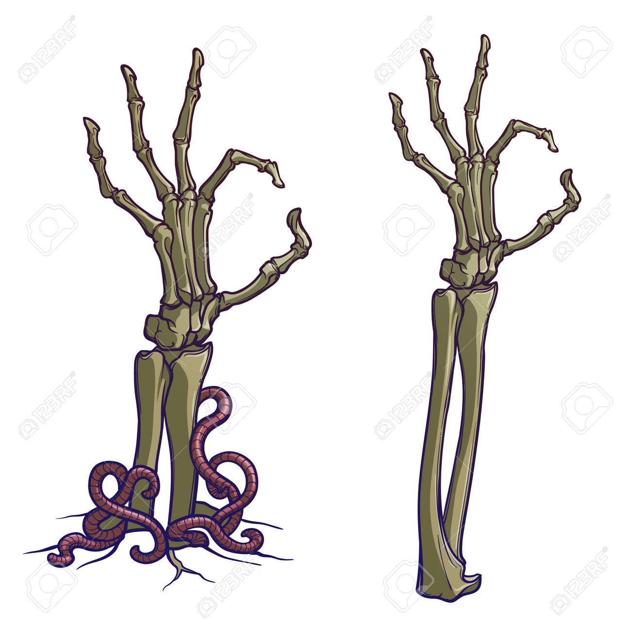 Zombie body language. OK Sign. Pair of skeleton hands rising from the ground and torn apart. linear drawing painted and isolated on white background. EPS10 vector - 109543246