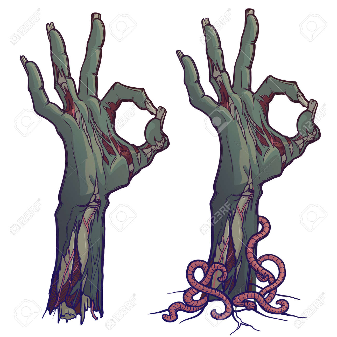 Zombie body language. OK Sign. lifelike depiction of the rotting flash with ragged skin, protruding bones and cracked nails. linear drawing colored Isolated on white background. EPS10 vector - 109543259