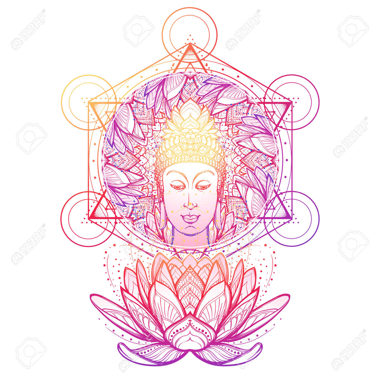 Buddha Head In A Lotus Flower Frame Hexagram Representing Anahata