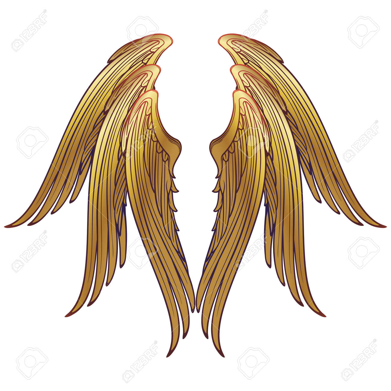 6 winged seraphim wings template. Medieval gothic style concept art. Design element. Brightly colored drawing. Medieval Manuscript pallette. EPS10 vector - 121510002