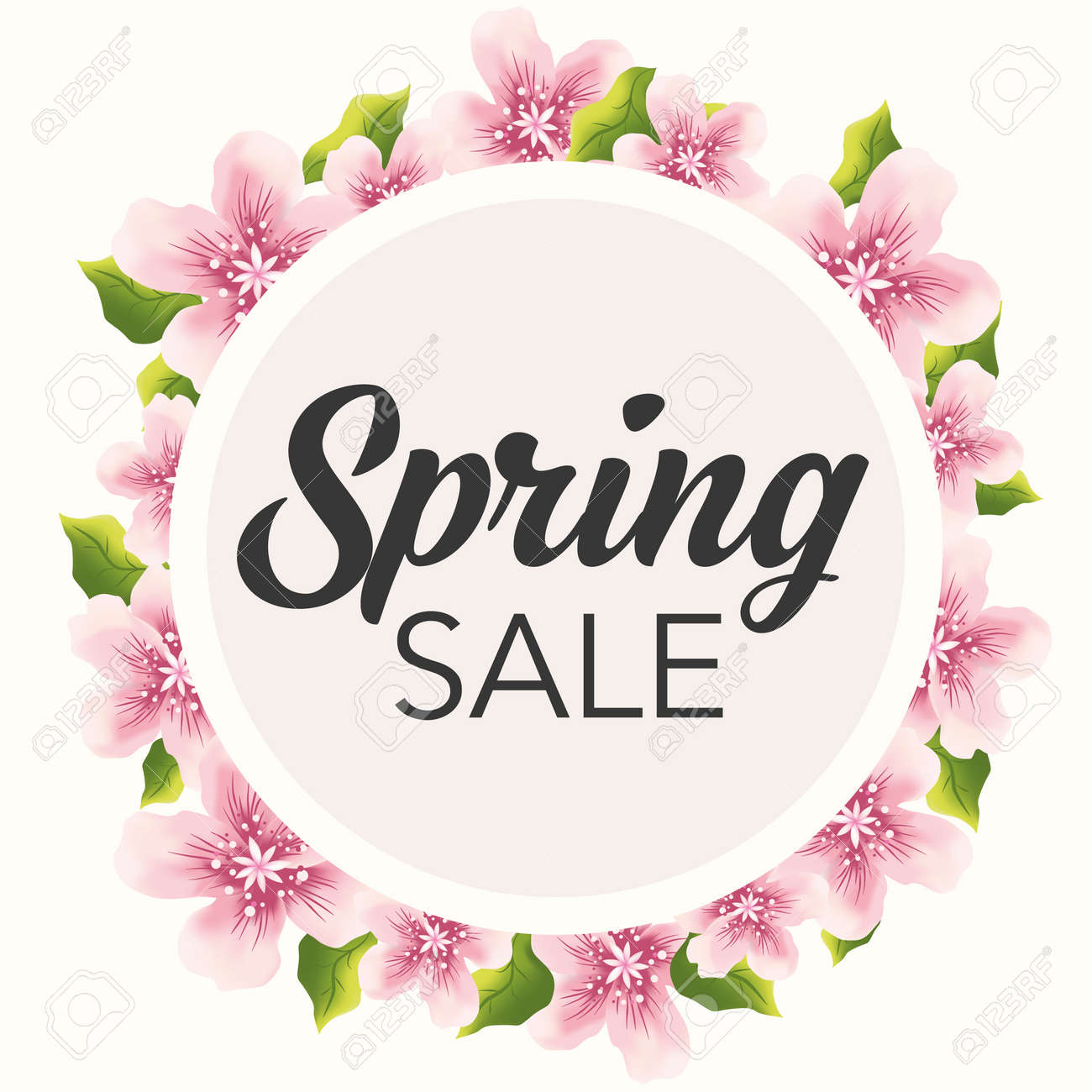 Spring Sale Graphic With Delicate Pink Flowers Royalty Free Cliparts