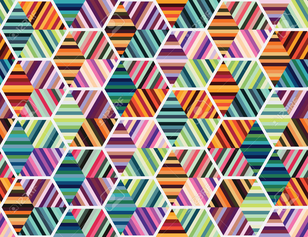 Seamless geometrical pattern with colourful shapes - 121819104