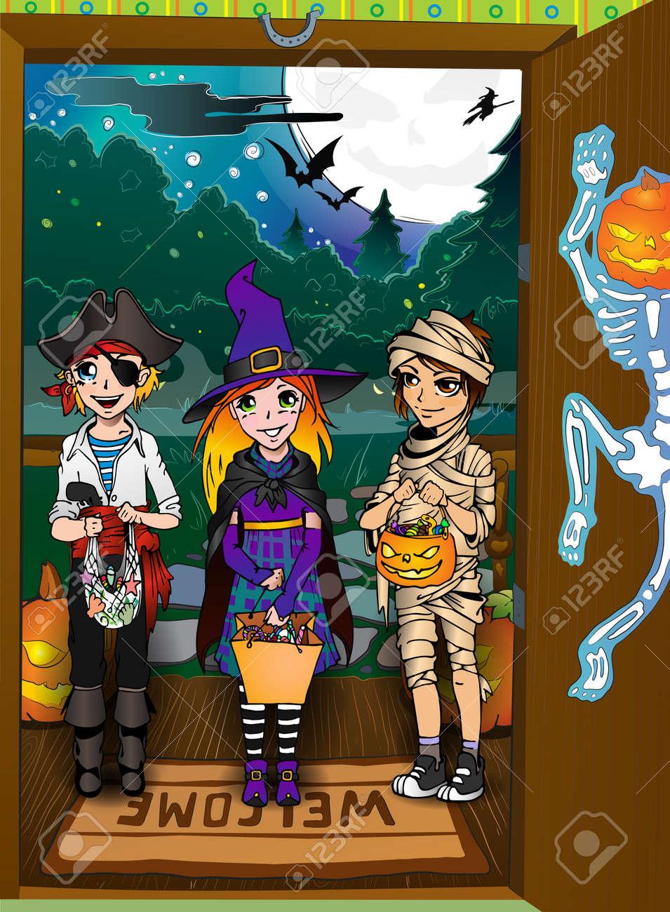 Three kids on the doorstep. Halloween tricks and treats tradition Stock Vector - 15835024