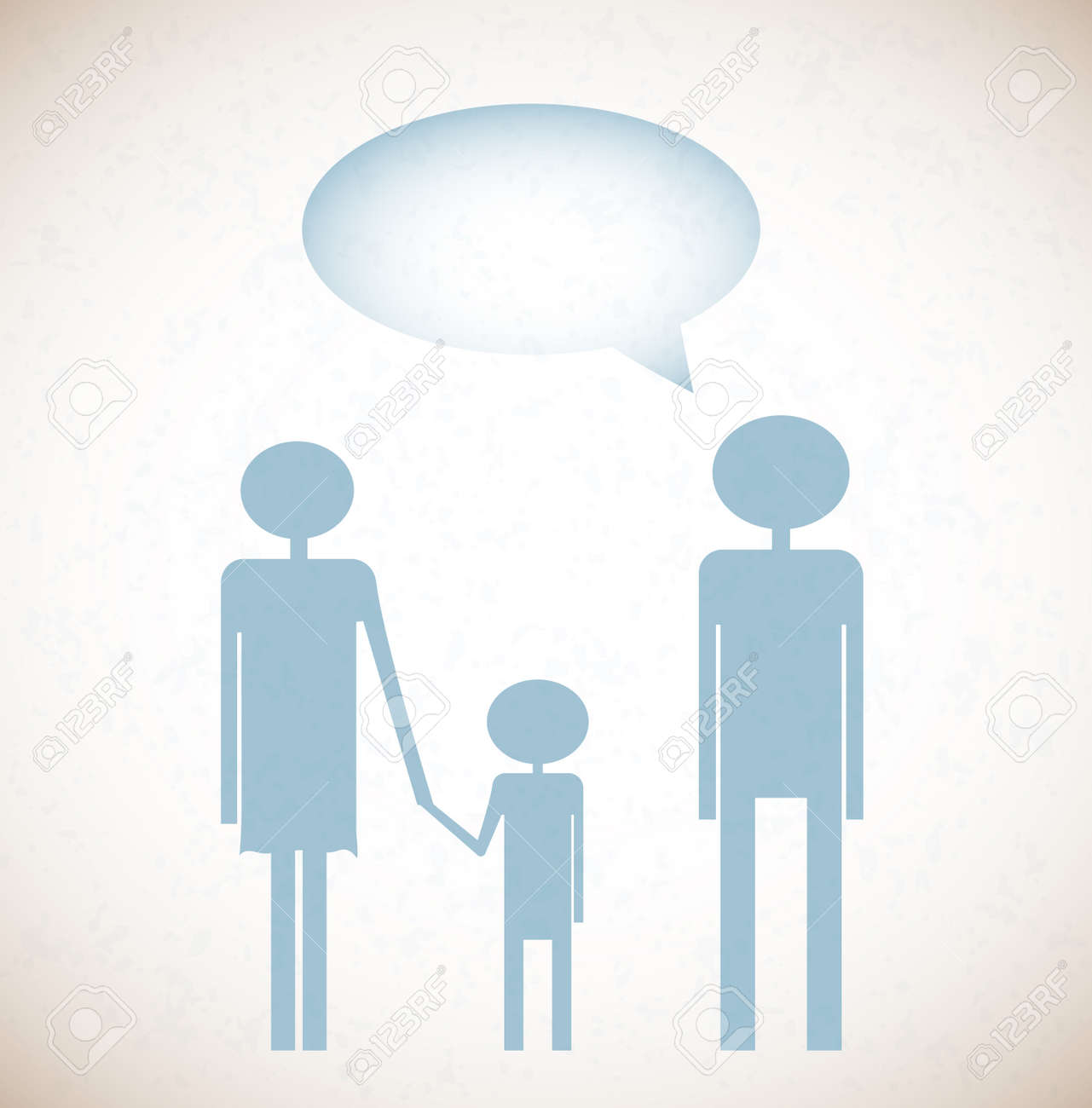 Grunge background with family and say bubble Stock Vector - 16171068