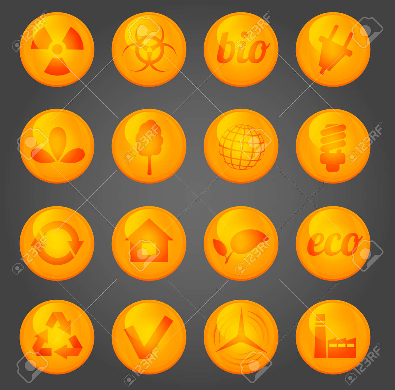 Environment vector glossy icons set Stock Vector - 18291850