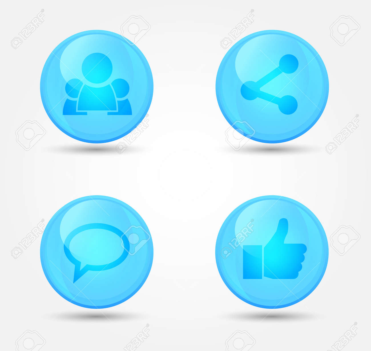 Set of glossy internet social icons. Vector icons Stock Vector - 18573132