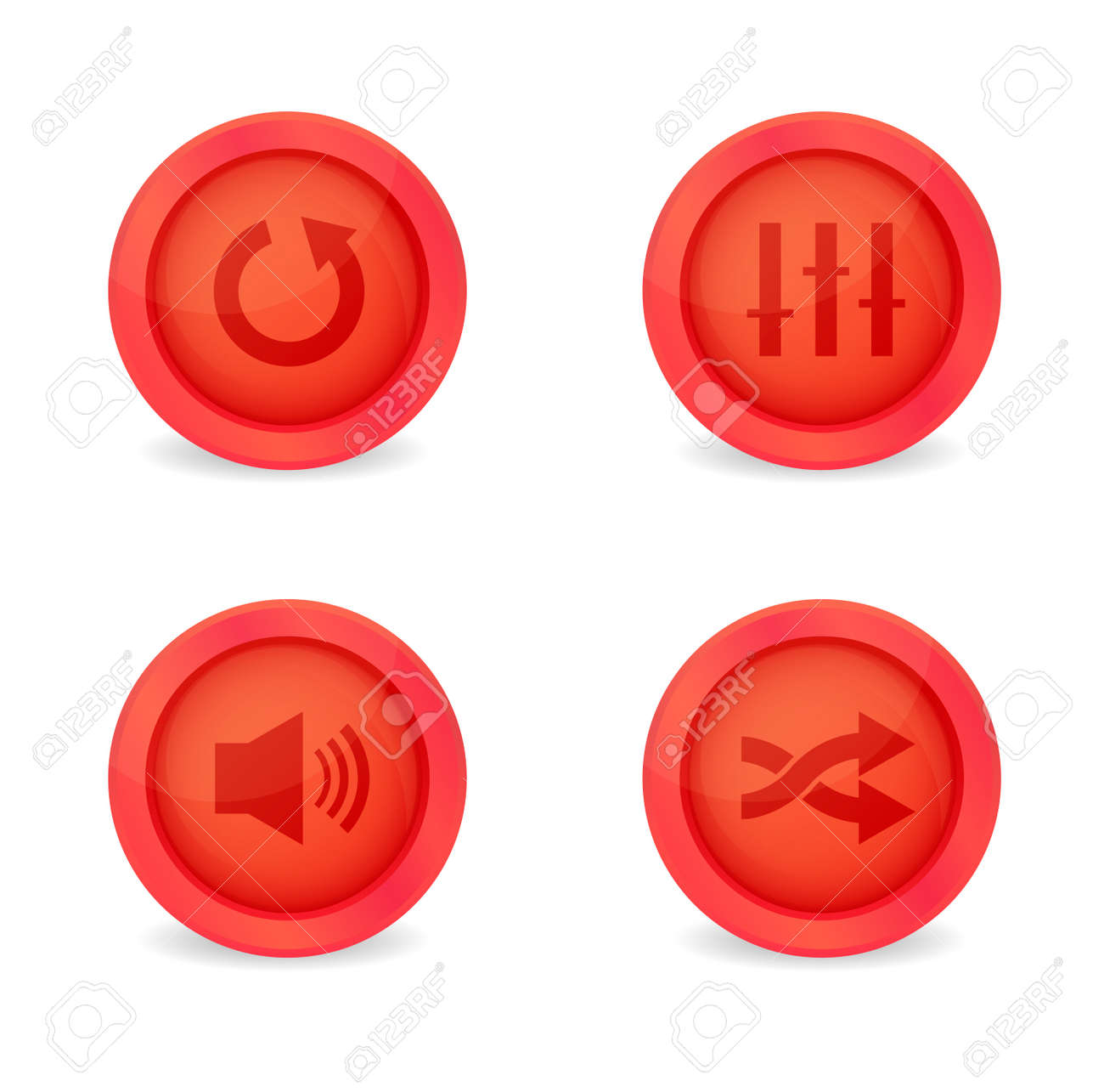 Set of glossy media player icons. Vector icons Stock Vector - 19270637