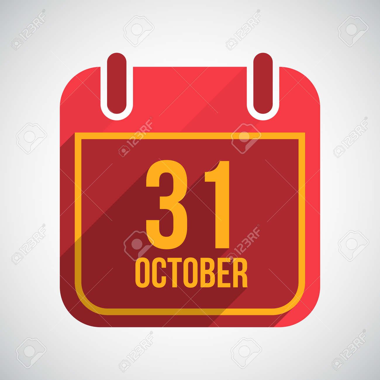 Calendar 31 October. Flat calendar icon with long shadow. Stock Vector - 22709151
