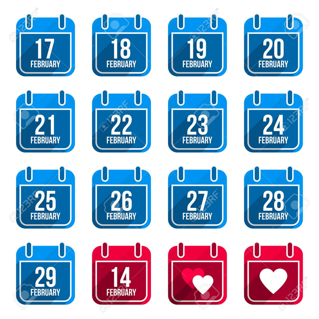 February vector flat calendar icons with long shadow. Calendar Days Of Year Set 10 Stock Vector - 24501170